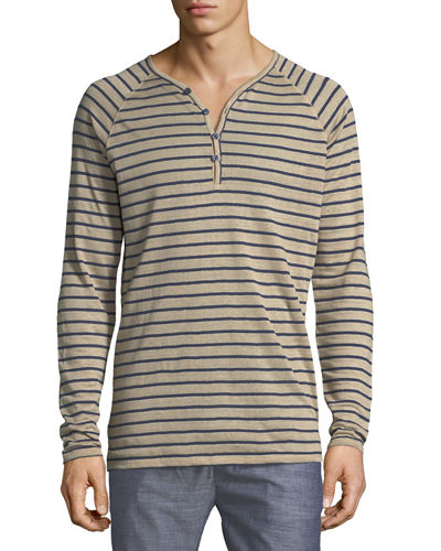Striped Linen-Blend Henley Shirt