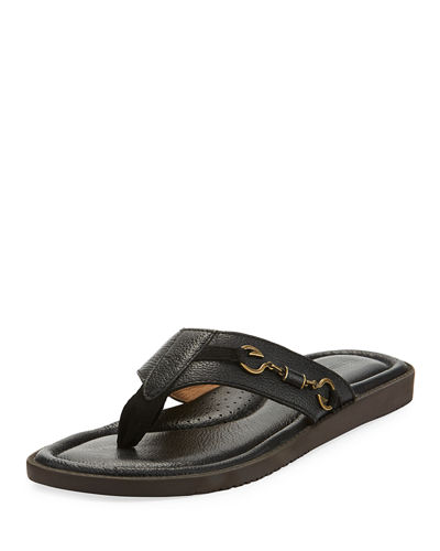 Belazzio Leather Flip-Flop with Anchor Detail