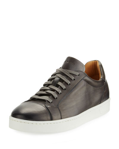 Hand Antiqued Distressed Calf Sneaker, Gray