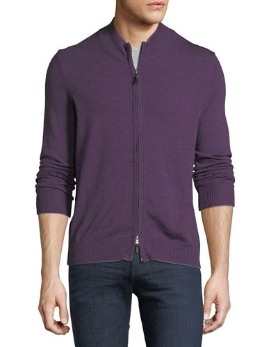 Wool-Blend Zip-Front Sweater