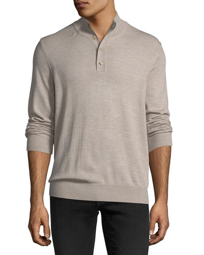 1/4-Button Solid Merino Stretch Sweater