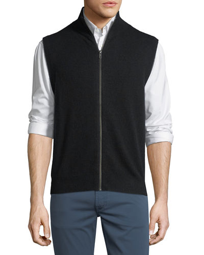 Cashmere Mock-Neck Zip Vest