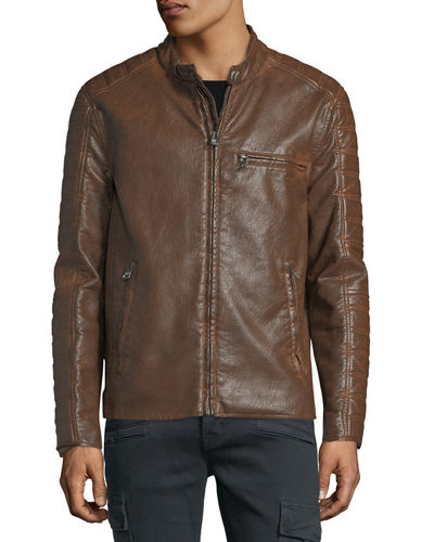 Distressed Faux-Leather Moto Jacket