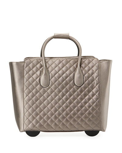 Camilla Quilted Faux-Leather Rolling Bag