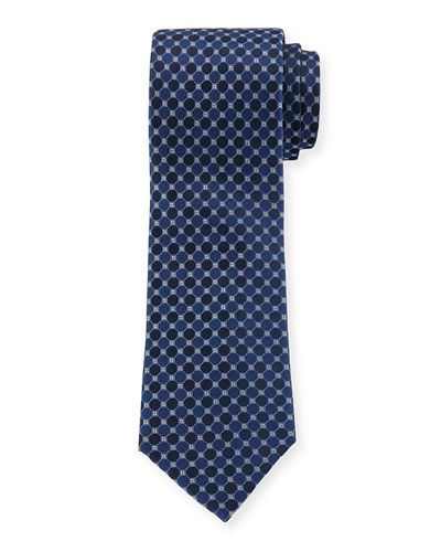 Tile-Print Silk Dress Tie