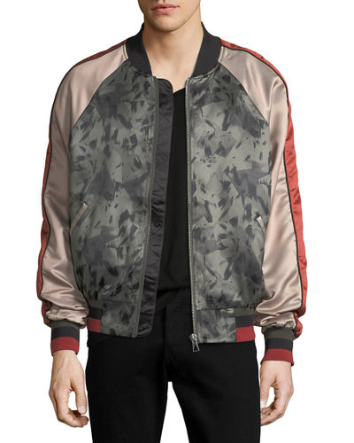 Silk-Printed Satin Bomber Jacket