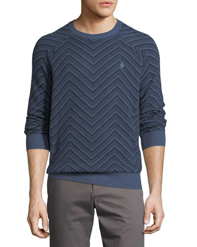 Chevron Textured Wool-Blend Sweater