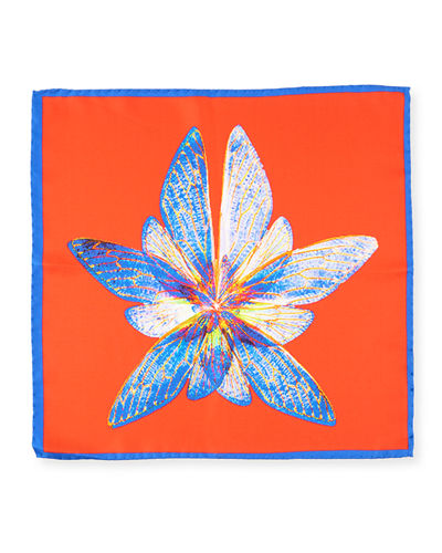 Butterfly-Print Silk Pocket Square