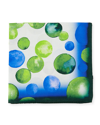 Bubble-Print Silk Pocket Square