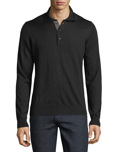 Wool-Blend Three-Button Polo Sweater