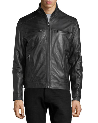 Derry Zip-Front Lamb Leather Hipster Jacket