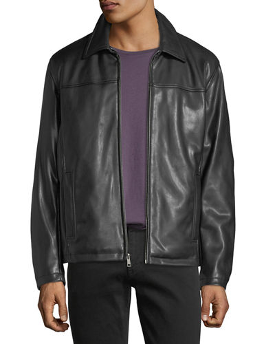 Faux-Leather Shirt Jacket