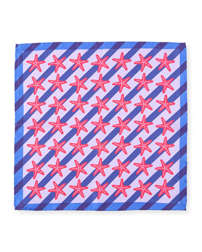 Striped Starfish Silk Pocket Square