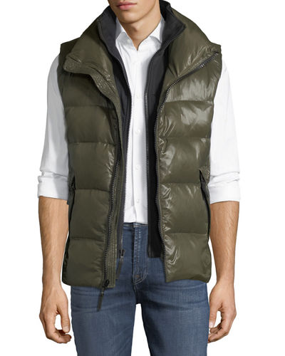 Glossy Quilted Vest w/Neoprene Inset