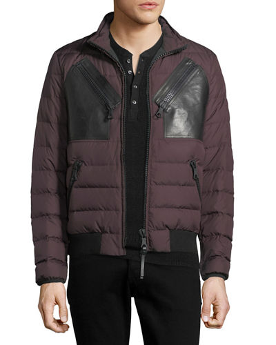 Leather-Patch Puffer Jacket