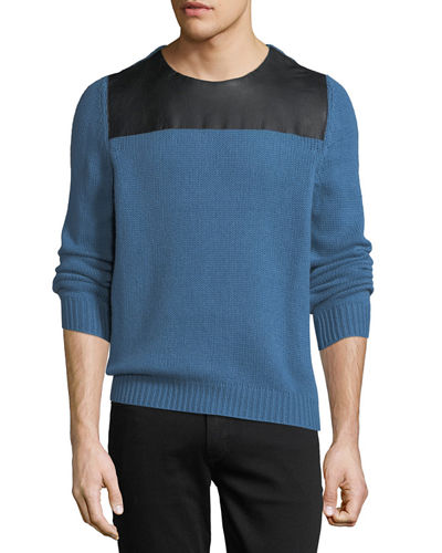 Leather-Combo Knit Sweater
