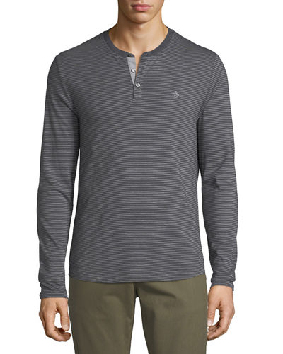 Long-Sleeve Slub Feeder-Stripe Henley