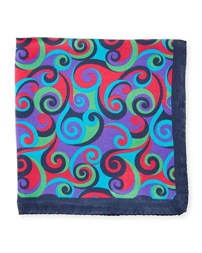 Multicolor Swirl Silk Pocket Square