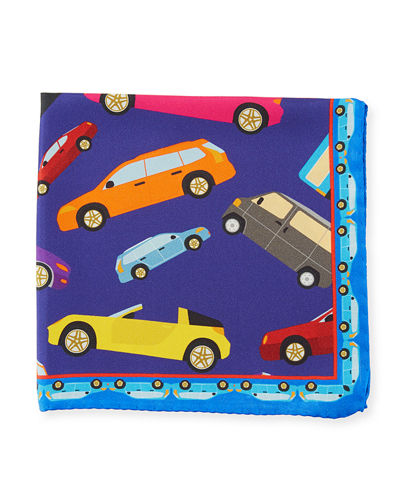 Car Pattern Silk Pocket Square