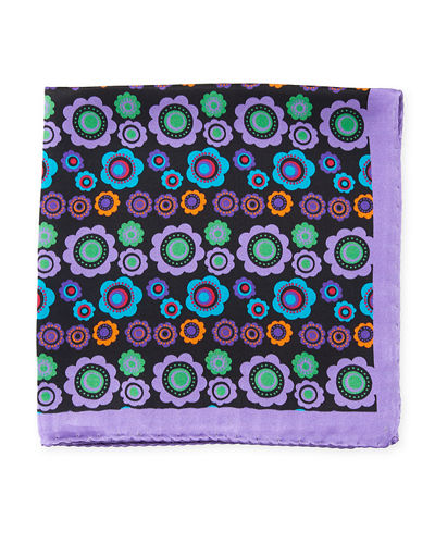 Floral Pattern Silk Pocket Square