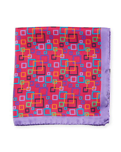 Multicolor Geometric Pattern Silk Pocket Square
