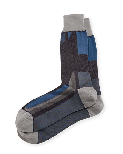Men's Cotton-Blend Colorblock Socks
