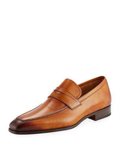 Neiman Marcus MEN'S ANTIQUED LEATHER PENNY LOAFERS
