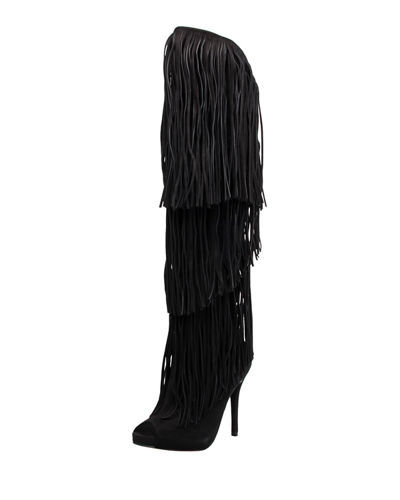 Carlie Fringe Knee-High Leather Boots, Black/Multi