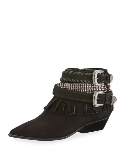 Myra Fringe Leather Buckled Bootie