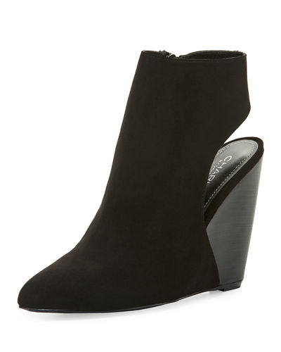 India Open-Back Suede Wedge Bootie