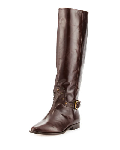 Reese Tall Studded Buckle Flat Boot