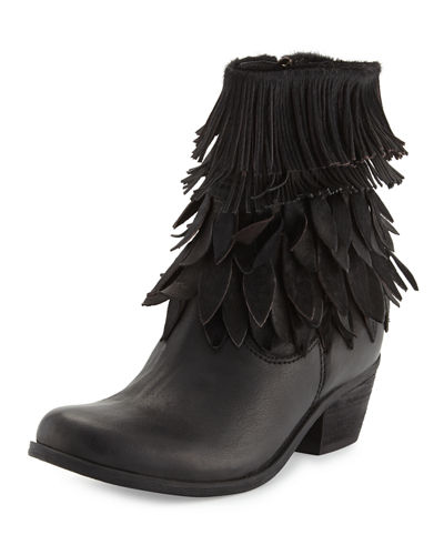 Leaf Fringed Leather Bootie