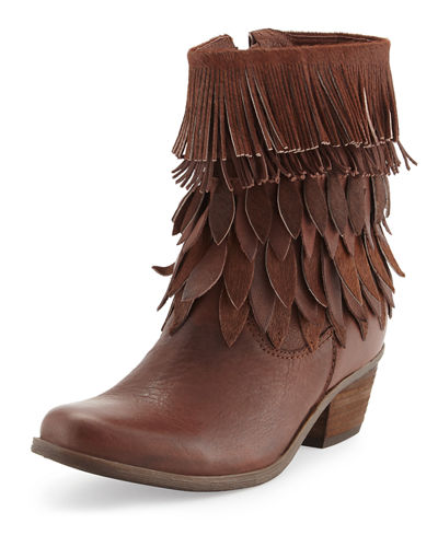 Leaf-Fringed Leather Bootie