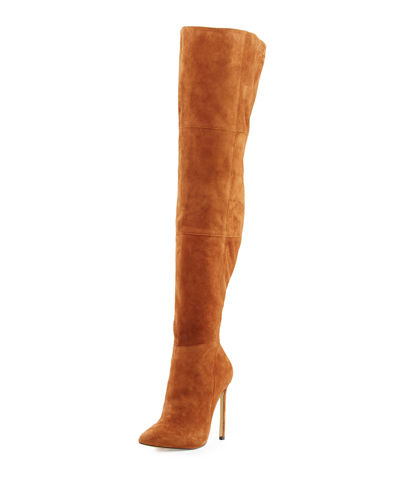 Lavish Suede Over-The-Knee Zip-Up Boot