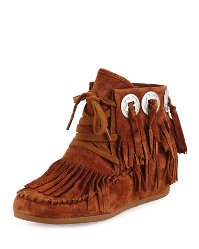 Shadow Suede Fringe Moccasin Bootie