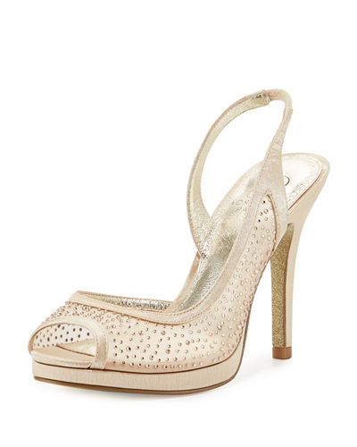 Georgi Satin Beaded Mesh Pump