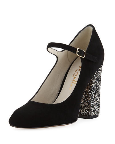 Brilliant Rhinestone-Heel Suede Mary Jane