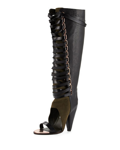 Alps Open-Toe Lace-Up Knee Boot