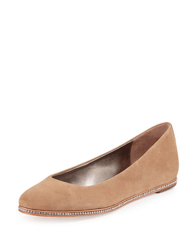 Poppy Suede Hidden-Wedge Skimmer