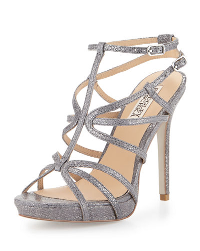 Aubrie Snake-Embossed Strappy Sandal