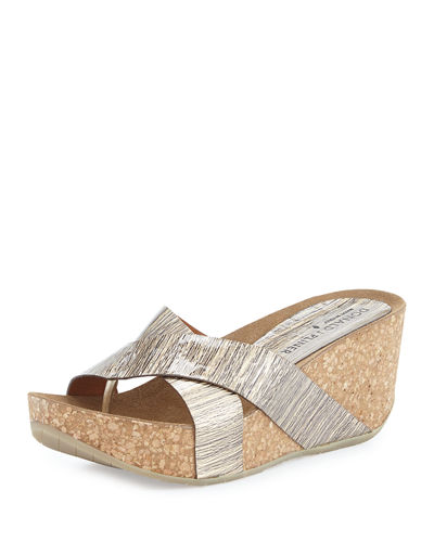 Gallo Crisscross Wedge Thong Sandal