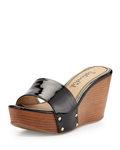 Greenville Studded Patent Wedge Sandal