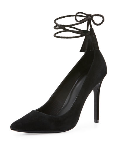 Angelynn Suede Ankle-Wrap Pump