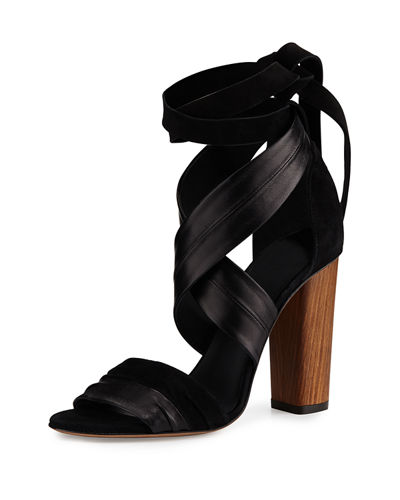 Beatrice Leather & Suede Wrap Sandal
