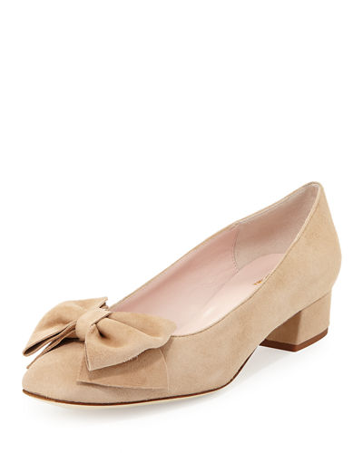 molly suede low-heel bow pump