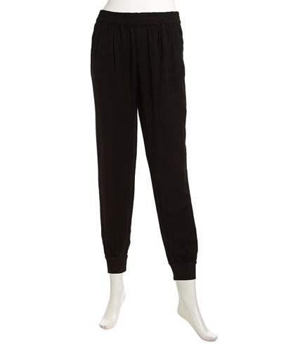 Shirred Soft Twill Slouch Pants
