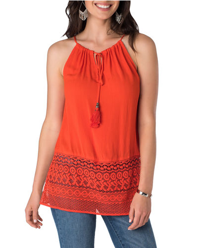 Tie-Neck Spaghetti Strap Top, Orange