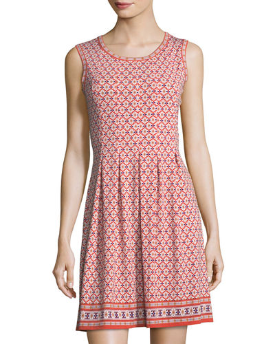 Printed Pleated Sleeveless Dress