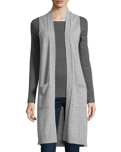 Neiman Marcus Womens Cashmere Long Open-Front Vest (Heather Gray)