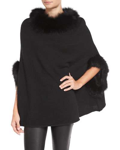 Fox Fur-Trim Knit Poncho